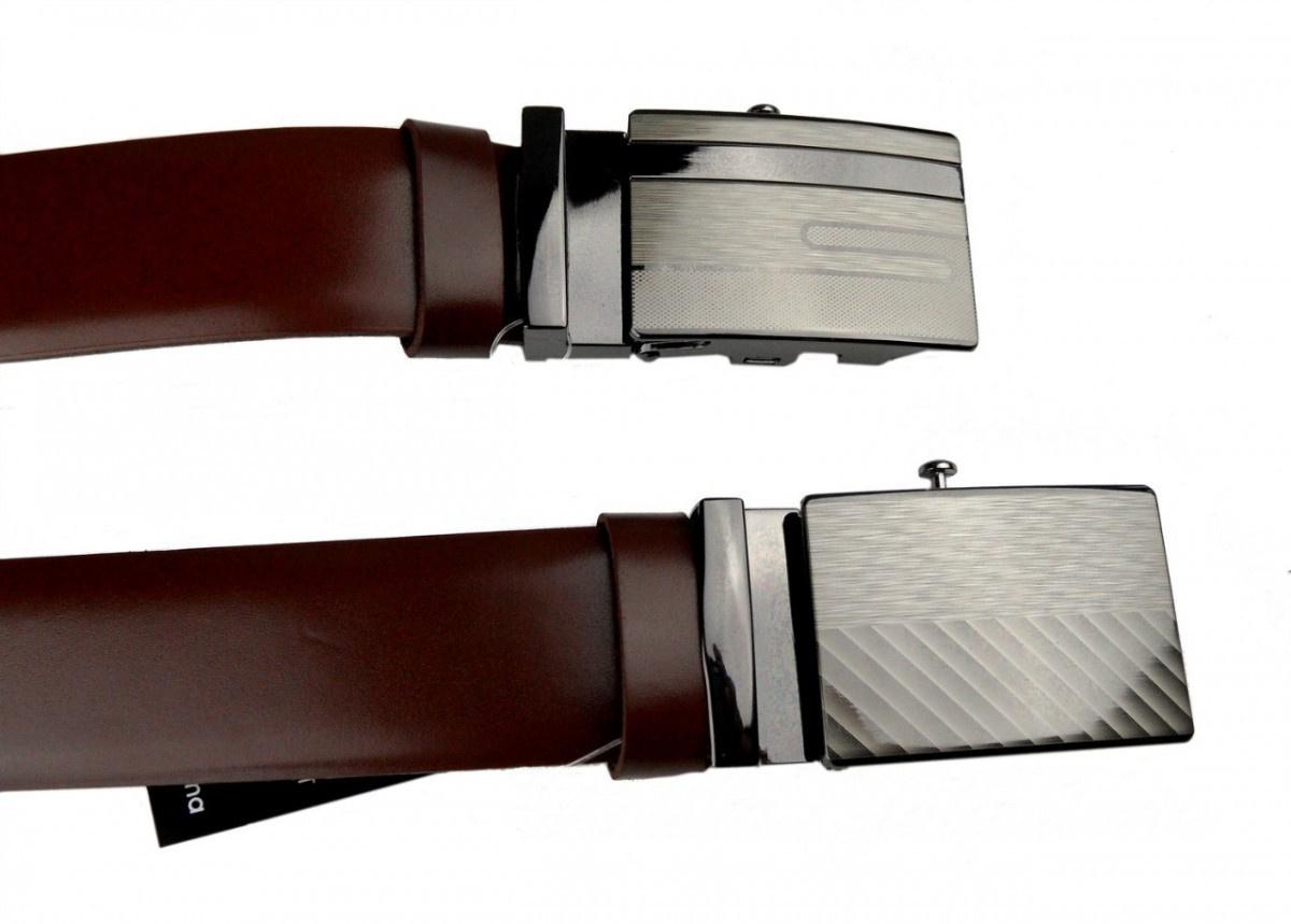 dd5c309e133c4 Pasek Męski Skórzany Gładki Brązowy z Pełną Klamrą Automat Skóra licowa 37  mm KLAMRA 2