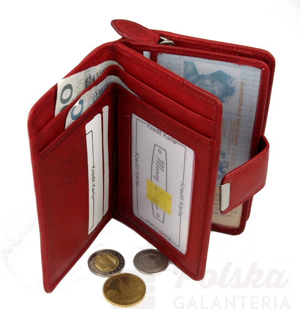 b8d045e3fd735 Portfel Damski Skórzany MONEY MAKER Skóra Licowa 13 cm Z Suwakiem Na  Zewnątrz MM509B