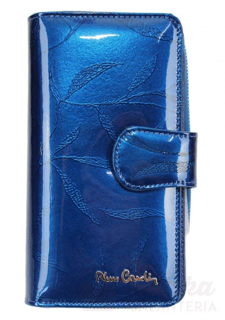 a44b1e2745b76 Portfel Damski Skóra Naturalna PIERRE CARDIN Z Suwakiem Piórnik 16 cm  Lakierowany